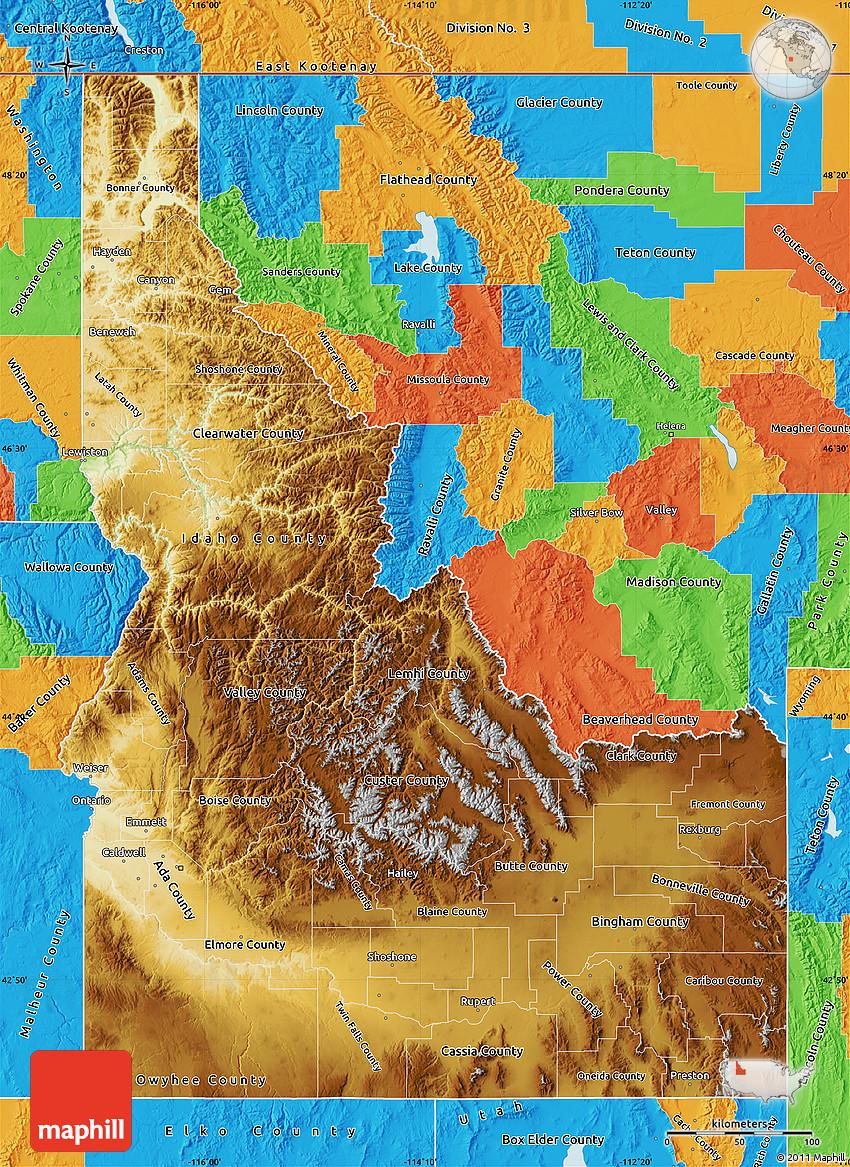 Physical Map of Idaho political outside