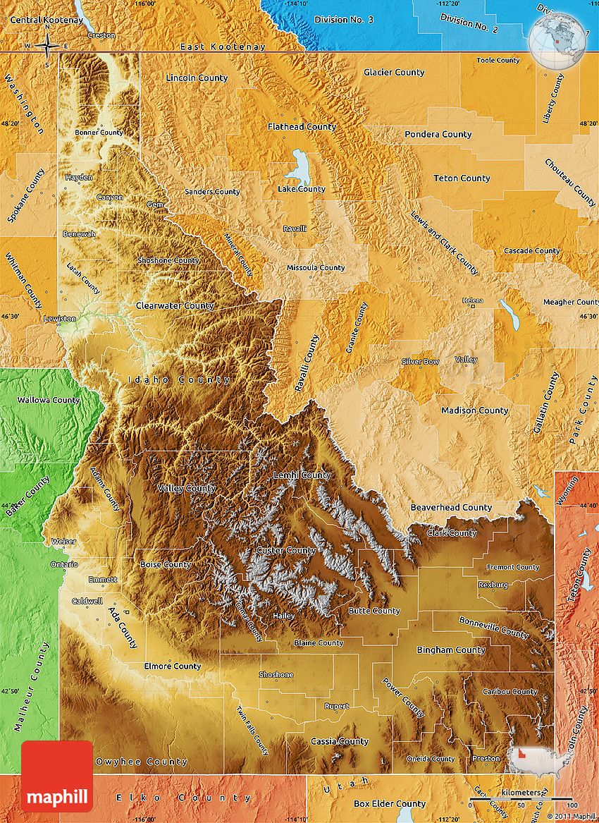 Physical Map of Idaho political shades outside