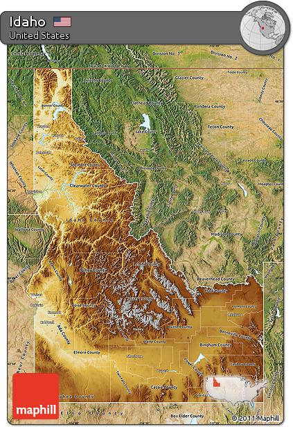 Free Physical Map of Idaho satellite outside