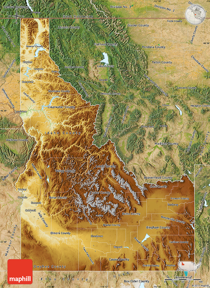 Physical Map Of Idaho Satellite Outside - Map of idaho