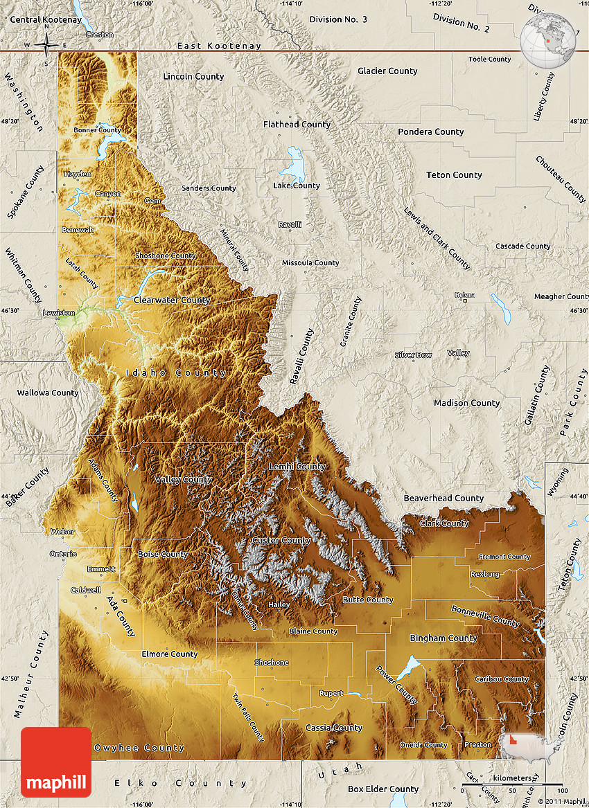 Physical Map of Idaho shaded relief outside