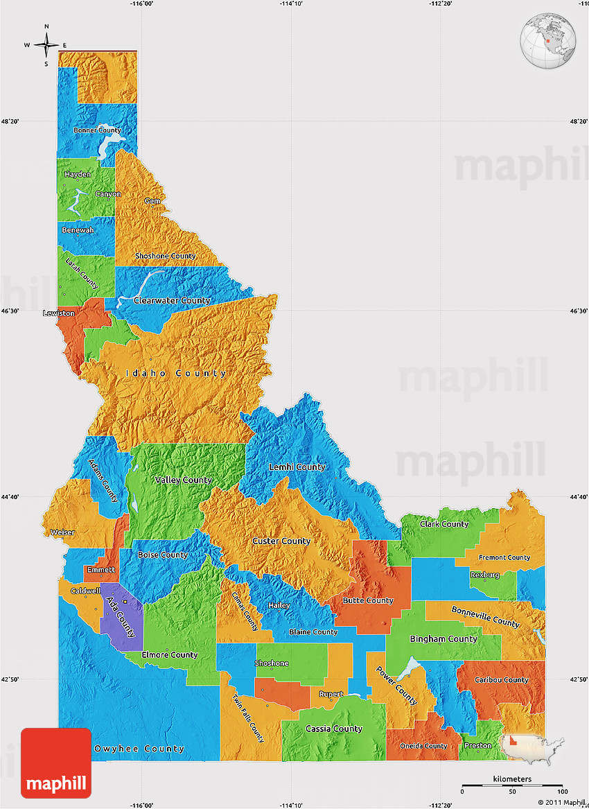 Political Map Of Idaho Cropped Outside