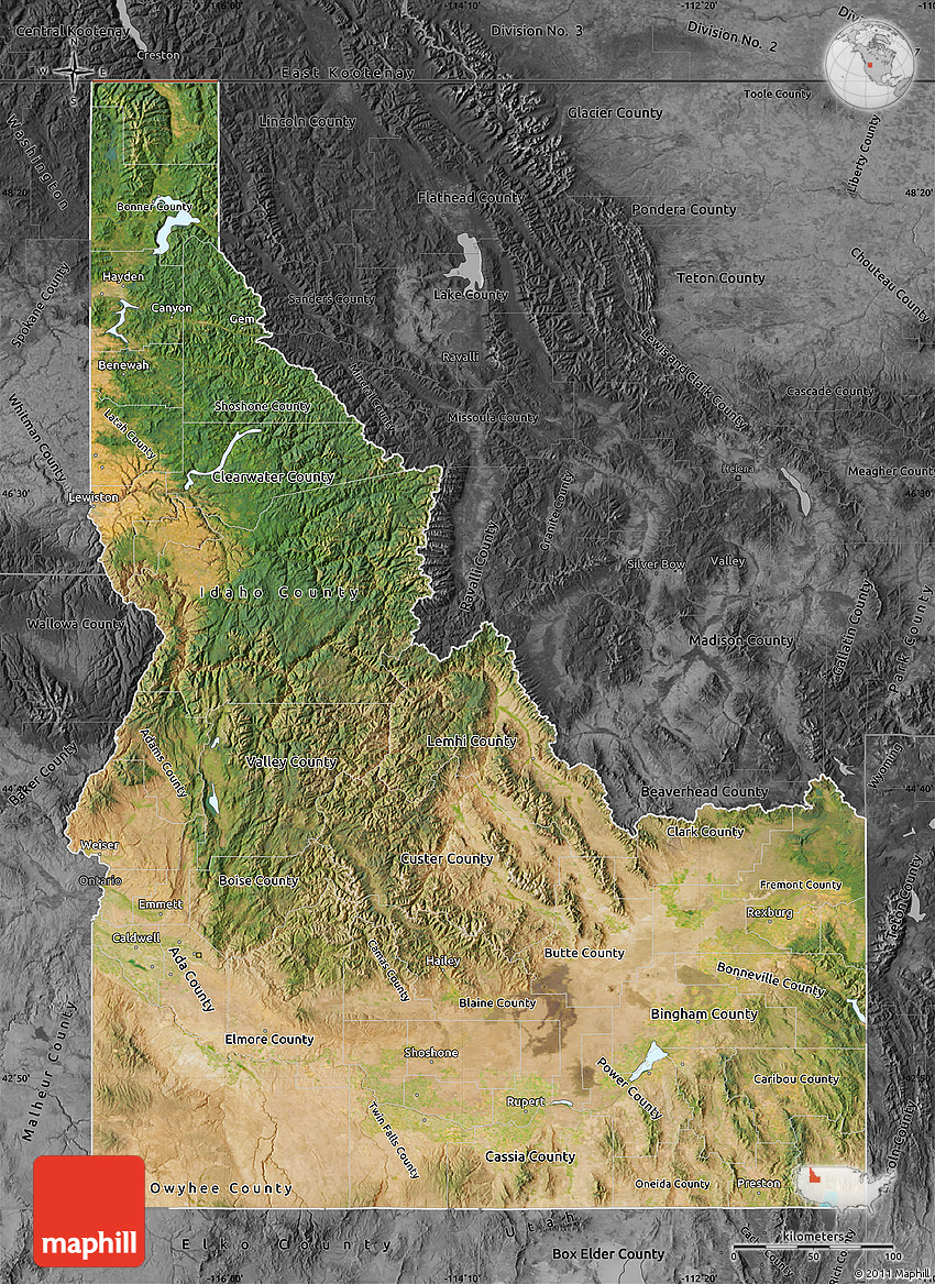 Satellite Map of Idaho, darken, desaturated
