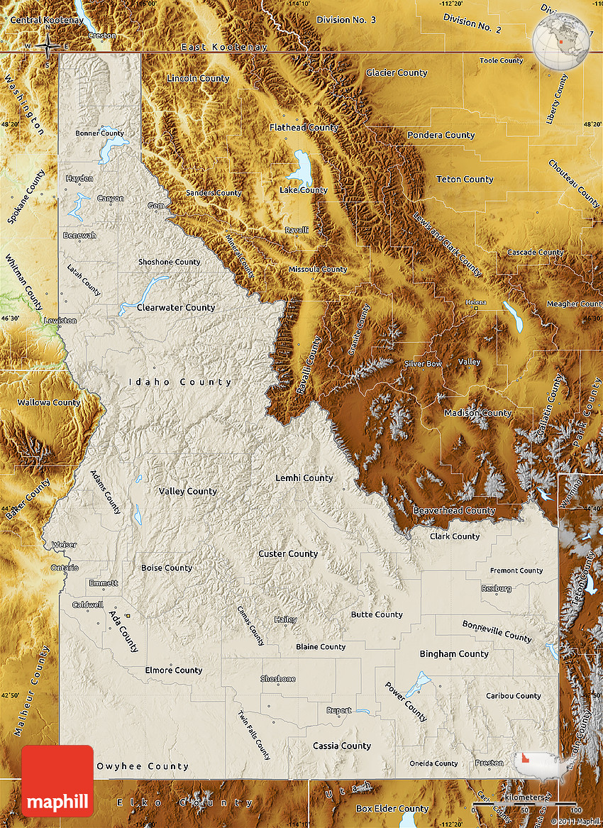 Shaded Relief Map of Idaho physical outside