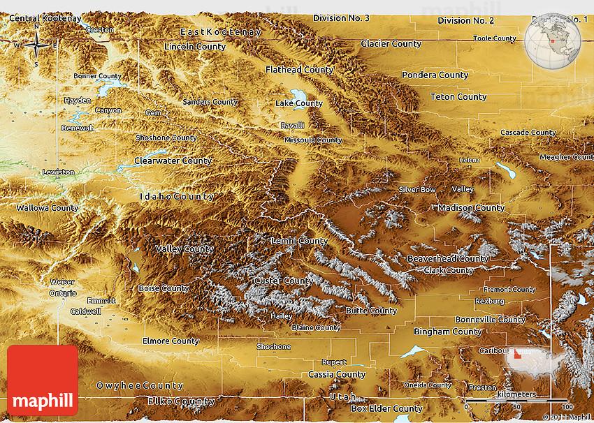Physical Panoramic Map of Idaho