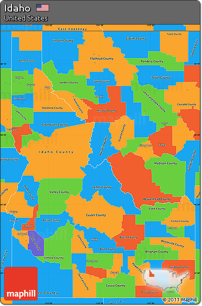 Free Political Simple Map Of Idaho