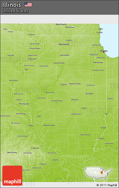 Free Physical 3D Map Of Illinois