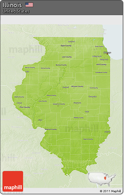 Free Physical 3D Map Of Illinois Lighten
