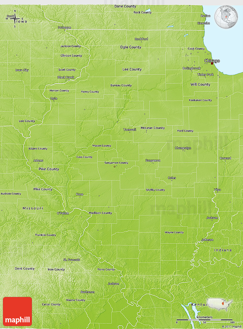 Physical 3D Map Of Illinois
