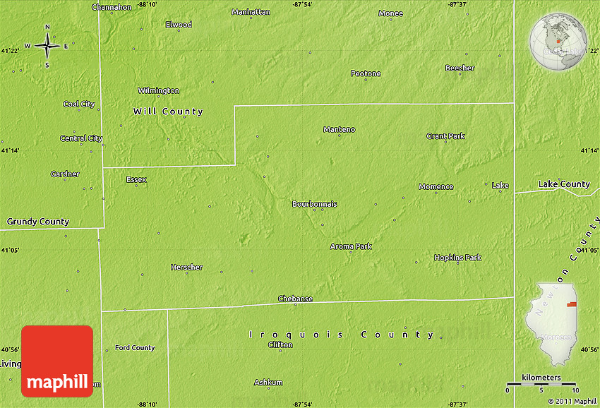Physical Map of Kankakee County on grand rapids county map, boone county map, wheaton county map, lincoln county map, tinley park county map, wheeling county map, il county map, crenshaw county map, piatt county map, dayton county map, elk grove village county map, grundy county map, rockford county map, cincinnati county map, peoria county map, sioux city county map, brown county map, jefferson county map, wilmington county map, effingham county map,