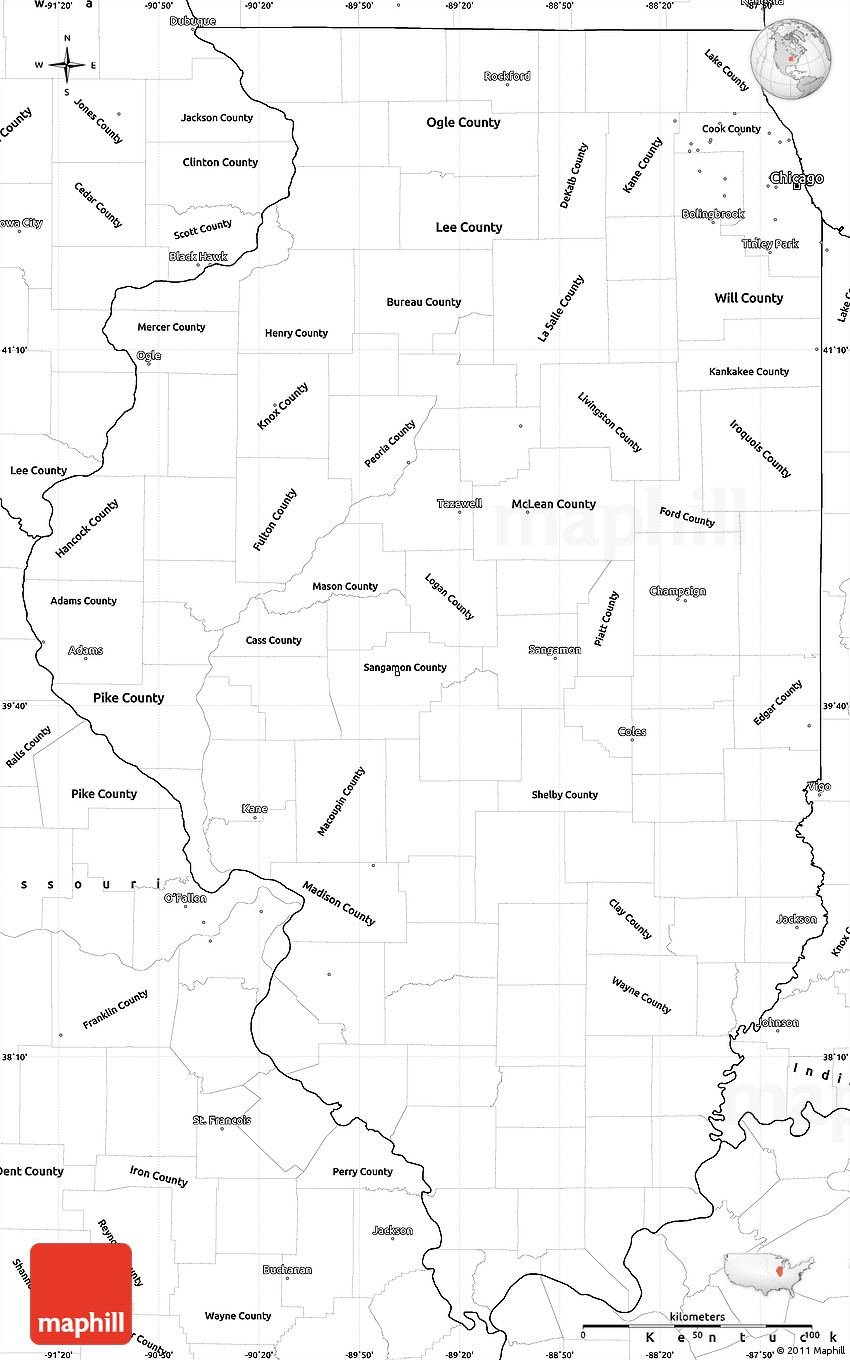 Picture of: Blank Simple Map Of Illinois