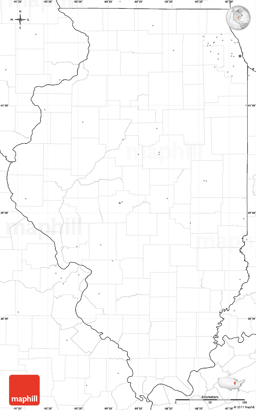 Picture of: Blank Simple Map Of Illinois No Labels