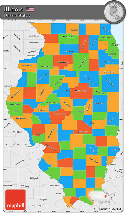 Free Political Simple Map of Illinois, single color outside