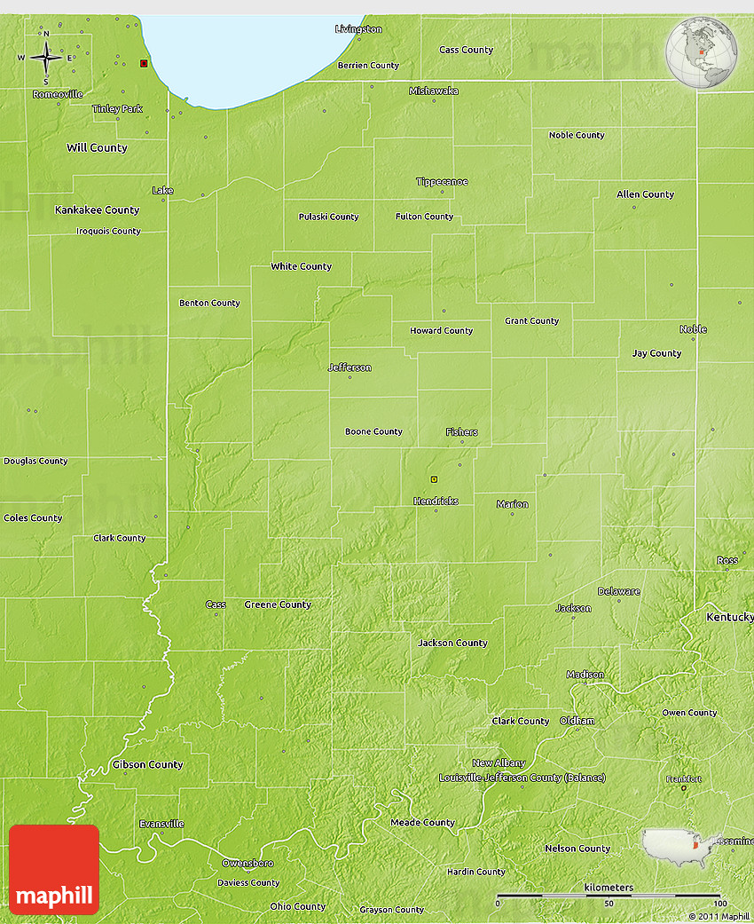 Physical D Map Of Indiana - Indiana physical map