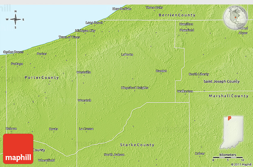 Physical 3d map of laporte county for La porte county in
