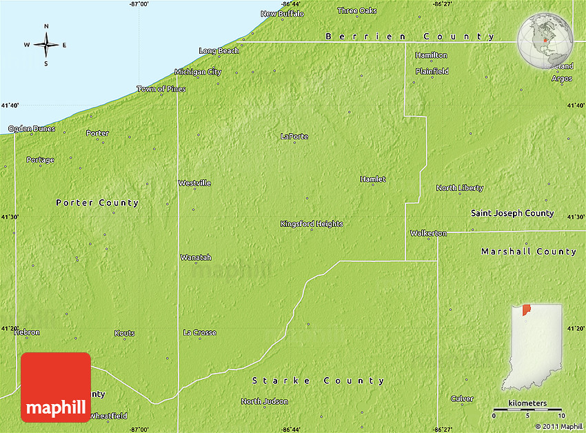 Physical Map Of Laporte County