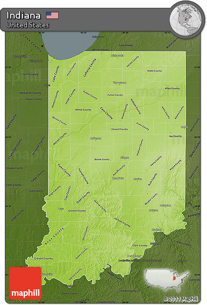 Free Physical Map Of Indiana Darken - Indiana physical map