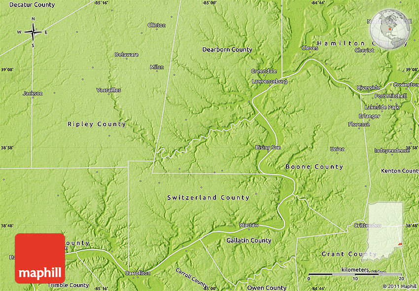 Physical Map Of Ohio County