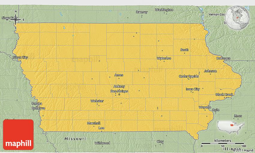 Savanna Style 3D Map Of Iowa