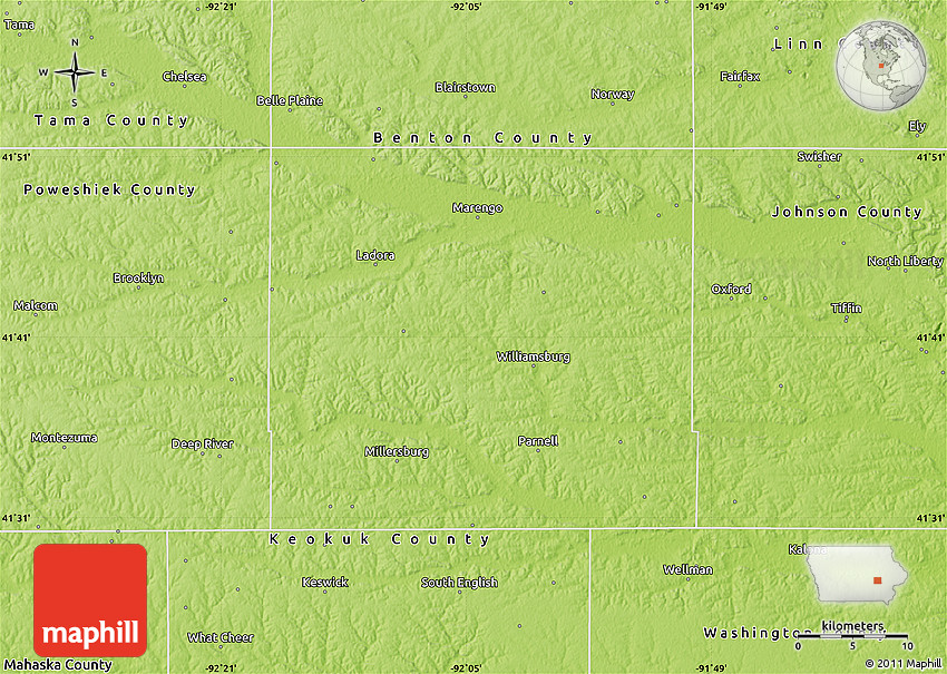 Physical Map of Iowa County