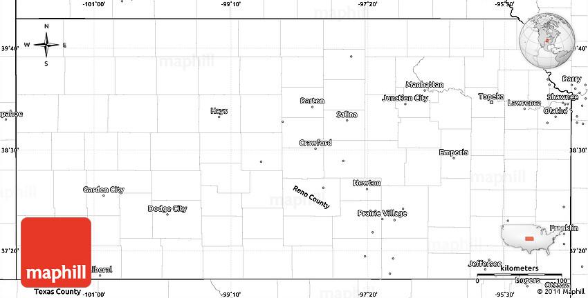 blank simple map of kansas