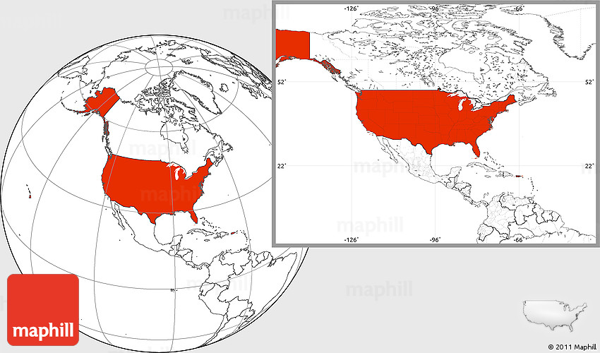 Blank Location Map Of United States - United states location
