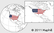 Flag Location Map of United States, blank outside