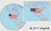 Flag Location Map of United States, gray outside