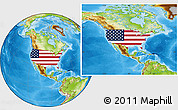 Flag Location Map of United States, physical outside