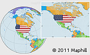 Flag Location Map of United States, political outside