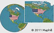Flag Location Map of United States, satellite outside
