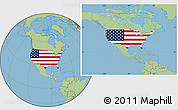 Flag Location Map of United States, savanna style outside