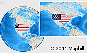 Flag Location Map of United States, shaded relief outside