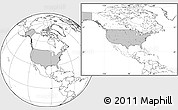 Gray Location Map of United States, blank outside