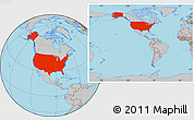 Gray Location Map of United States, within the entire continent