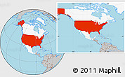 Gray Location Map of United States, highlighted continent