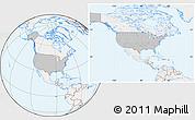 Gray Location Map of United States, lighten