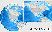 Gray Location Map of United States, shaded relief outside