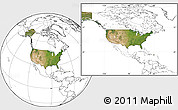 Satellite Location Map of United States, blank outside
