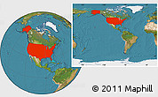 Satellite Location Map of United States, within the entire continent
