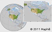 Satellite Location Map of United States, lighten, desaturated