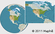 Satellite Location Map of United States, lighten, land only