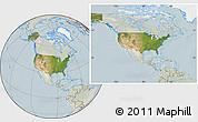Satellite Location Map of United States, lighten
