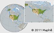 Satellite Location Map of United States, lighten, semi-desaturated