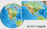Satellite Location Map of United States, physical outside