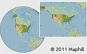 Satellite Location Map of United States, savanna style outside, hill shading