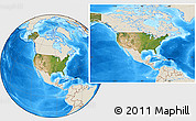 Satellite Location Map of United States, shaded relief outside
