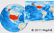 Shaded Relief Location Map of United States, within the entire continent