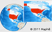 Shaded Relief Location Map of United States, highlighted continent
