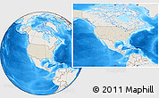 Shaded Relief Location Map of United States, lighten, land only